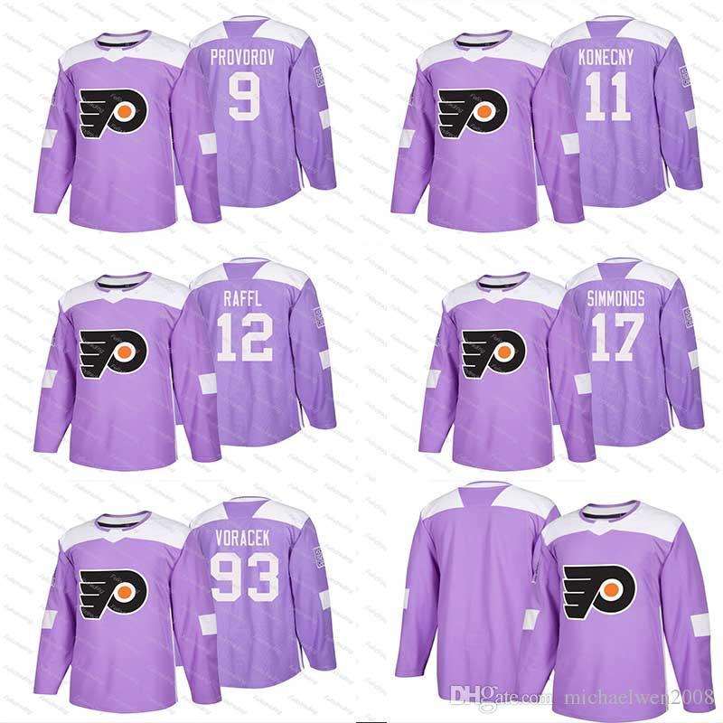 e57d09d4f 2018 2018 Fights Cancer 9 Ivan Provorov 11 Travis Konecny 17 Wayne Simmonds  28 Claude Giroux 53 Shayne Gostisbehere Philadelphia Flyers Jerseys From ...