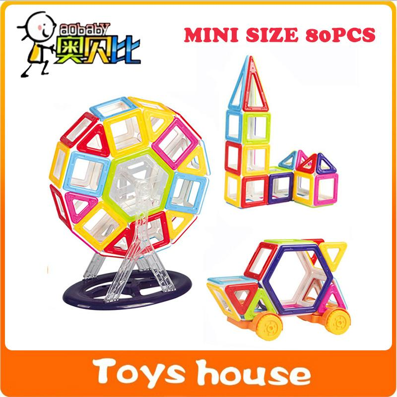 80PCS Mini Magnetic Designer building blocks toys for children Magnetic constructor build with magnets game DIY toys