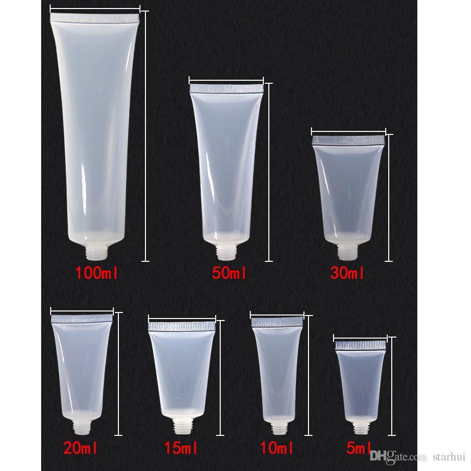 5 ml 10 ml 15 ml 20 ml 30 ml 50 ml 100 ml Loción de plástico transparente Tubos suaves Botellas de embalaje Muestra vacío Cosmético Maquillaje Crema Contenedor WX9-293