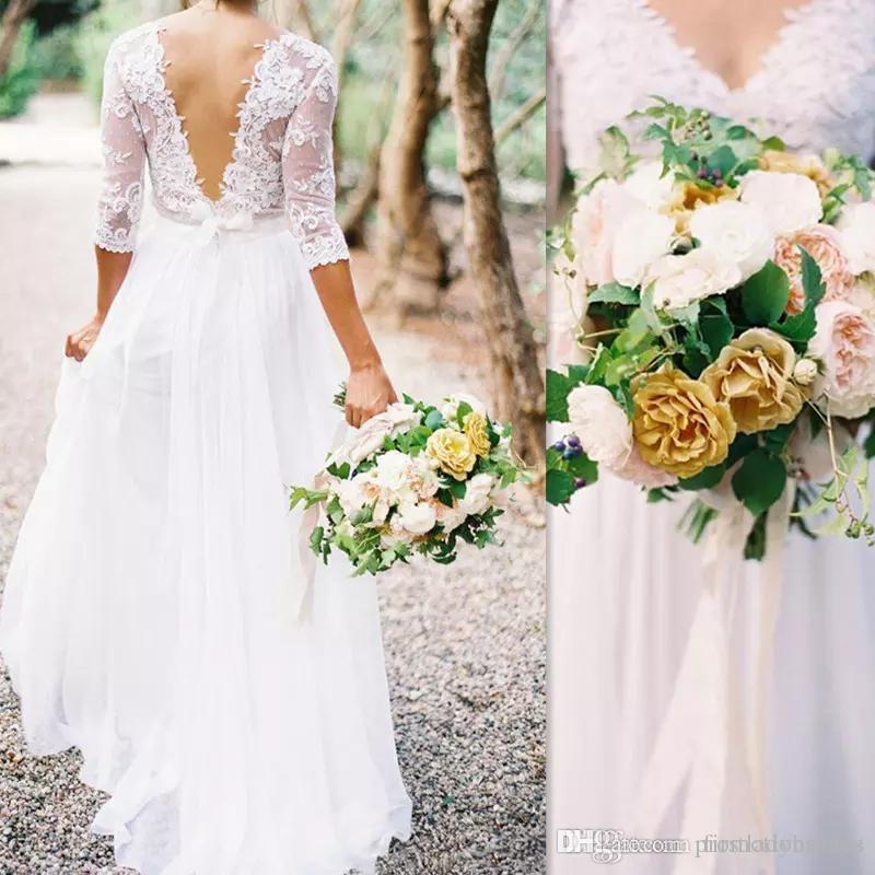袖のウェディングドレス袖のウェディングドレス - ラインのVネックホワイトシフォンアップリケレースイリュージョンボディスブライダルガウンカジュアルAbito da Sposa