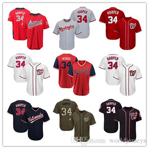 purchase cheap 8bdae 2a9d0 Youth Kids National Jersey 34 Harper Baseball Jerseys White Red Navy Blue  Gray Grey Green Salute to Service Players Weekend All Star