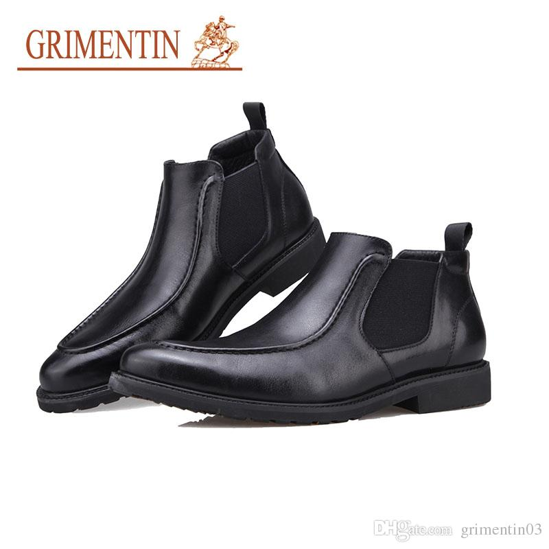 GRIMENTIN 2018 New Winter Men Boots Genuine Leather Black Pointed ... 80c7aff475