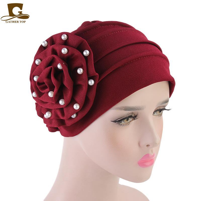New Women Beaded Flower Hat Muslim Chemo Turban Ruffle Beanie Cap Scarf For Cancer  Patient Hair Loss Head Scarf Wrap Hijib Cap Slouchy Beanie Crochet ... f0c1265343f