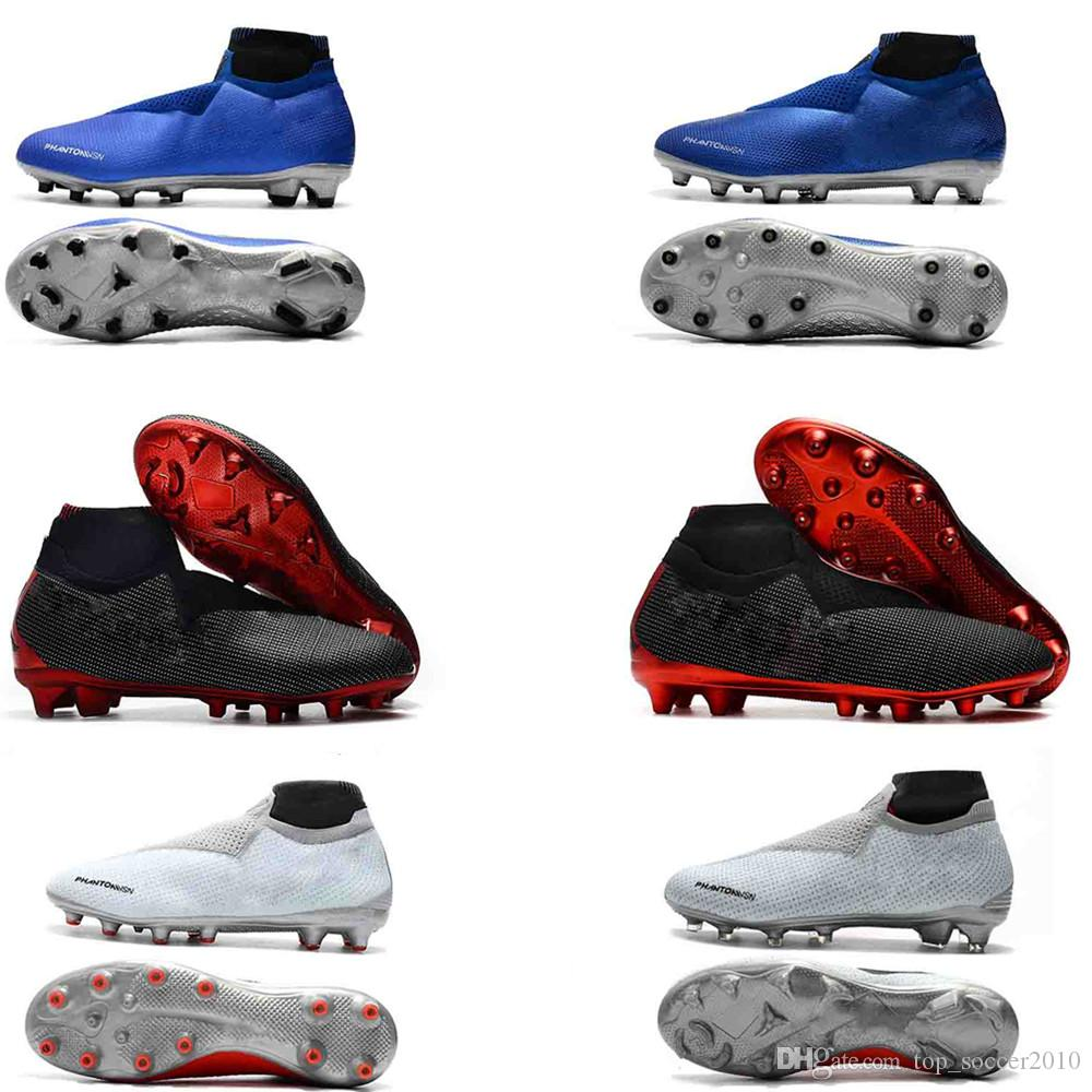 New Phantom Vision Elite DF FG Soccer Cleats Leather Soccer Shoes Mens  Socks Laceless Phantom VSN High Ankle Original Quality Football Boots UK  2019 From ... f61af37a353