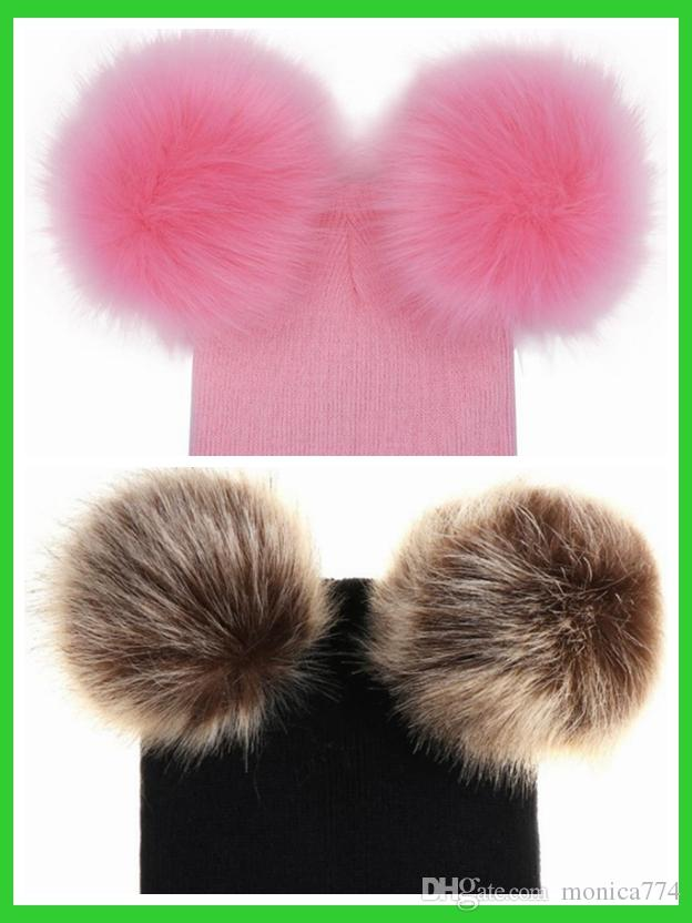 60568411735 Kids Pom Pom Winter Knit Beanie Photography Faux Fur Hat Knit Cap Winter  Outdoor Warm Hats With Double Fur Balls On Top From Monica774