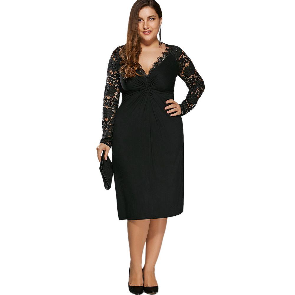 1391f56a2cf ZAFUL Women Lace Dress New Plus Size Twist Front Lace Insert Fitted ...
