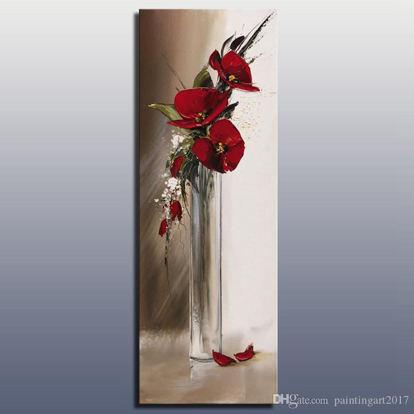 Red abstract knife oil painting of flowers in a vase 100% hand painted oil painting on canvas modern wall art