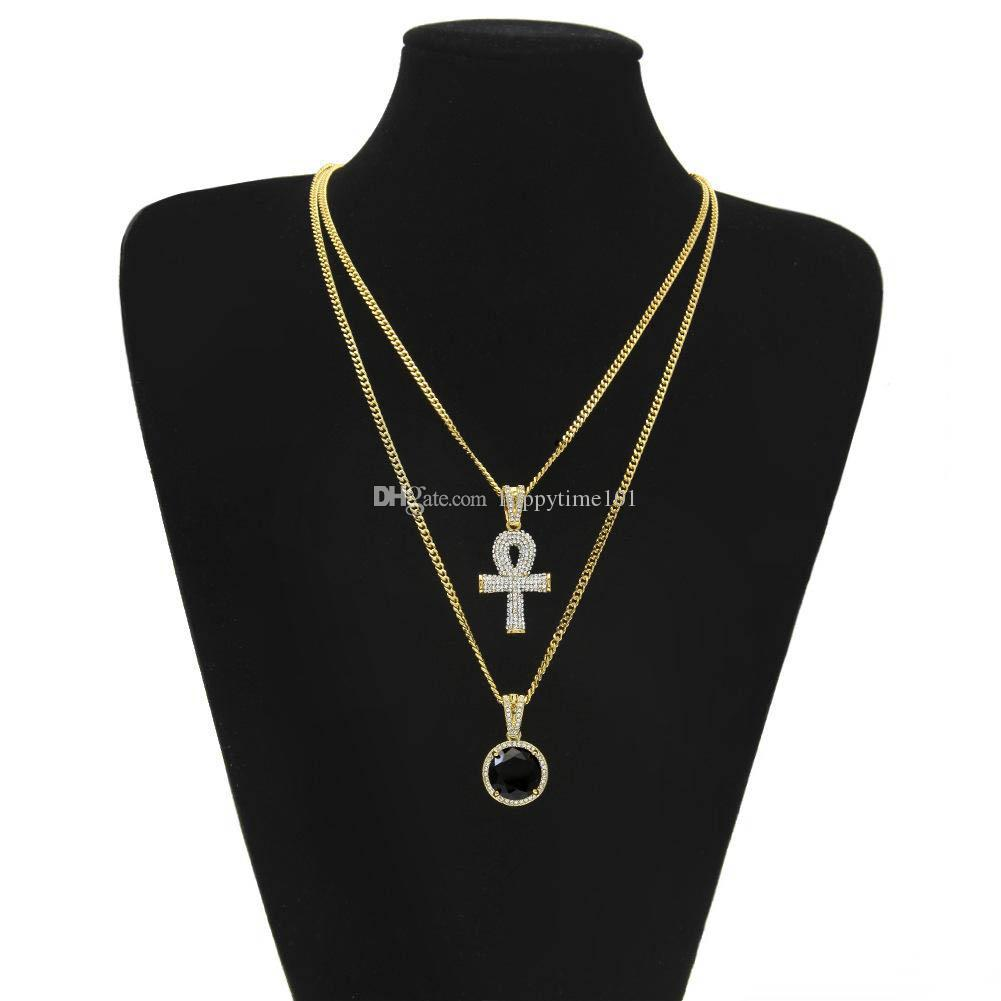 pendant necklaces Sets Round Ruby Sapphire with Rhinestones Cross Charms cuban link Chains For mens Hip Hop Jewelry