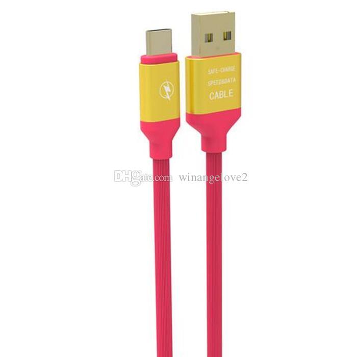 1.2M elástico micro Carga rápida Aleación de aluminio Tipo C Tipo-C Cable de cargador de datos usb para Samsung s6 s7 s8 s9 s9 más
