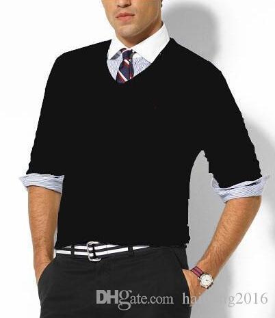 Новый Пуловер Мужчины Поло Свитера Маленькая Лошадь Вышивка V-Образным Вырезом Высокое Качество Хлопка С Длинным Рукавом Sim Fit Трикотаж Мужские Твердые Свитер Черный Белый