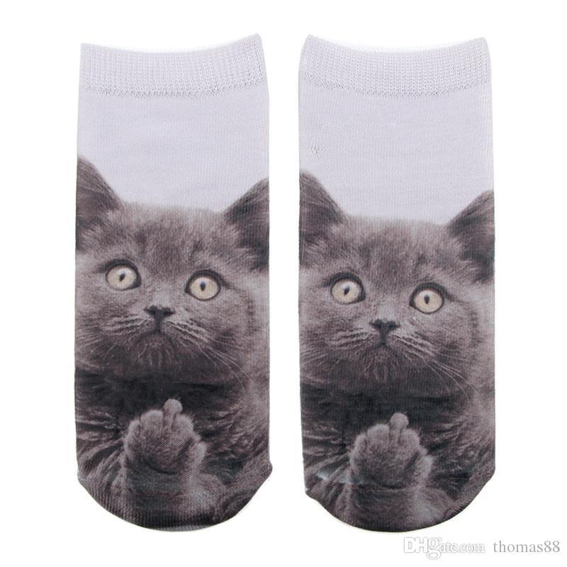 Toptan ücretsiz kargo özel moda tasarım sevimli 3D kedi baskılı kadınlar unisex low cut ayak bileği çok renkli rahat çorap