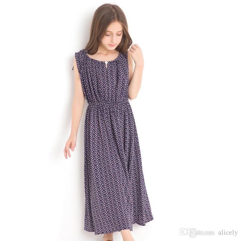 0f8490077c97b 2018 Girl Floral Dress New Vest Dresses Large Children 14 Years Summer Long  Style Sleeveless Chiffon Sundress for Teen Girls