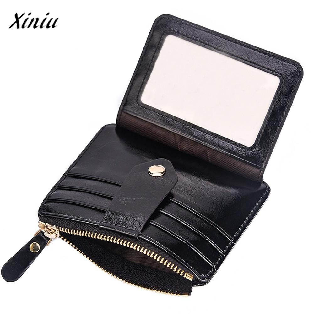 Xiniu Brand Fashion Leather Thin Wallet Men Blocking Short Wallet Coin Card Holder Purse With Coin Pocket Male money bag quality