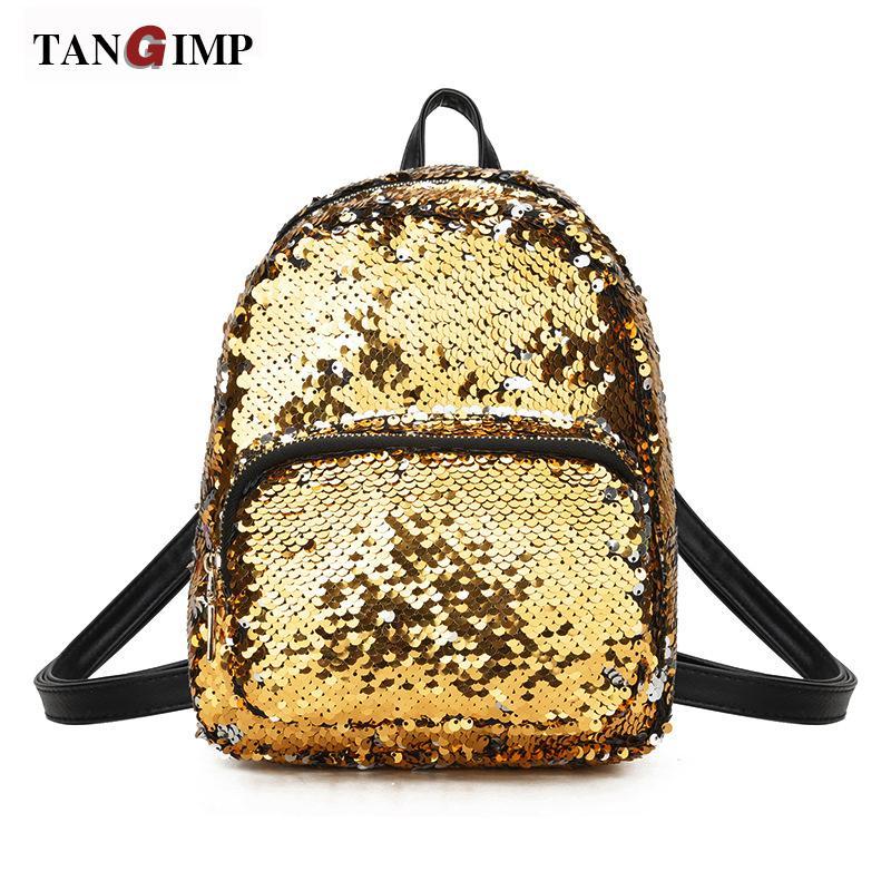 6c63093f5a TANGIMP Sparkly Sequined Leather Backpack For Girls Fashion Small Backpack  Shoulder Bag Female Mini Travel Bag Backpack Rucksack Jansport Backpacks  From ...