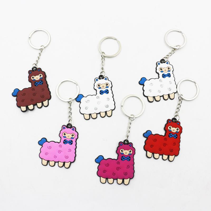 wholesale 100pcs fashion jewelry PVC alpaca key chain metal automobile  pendant key rings party gift free shipping