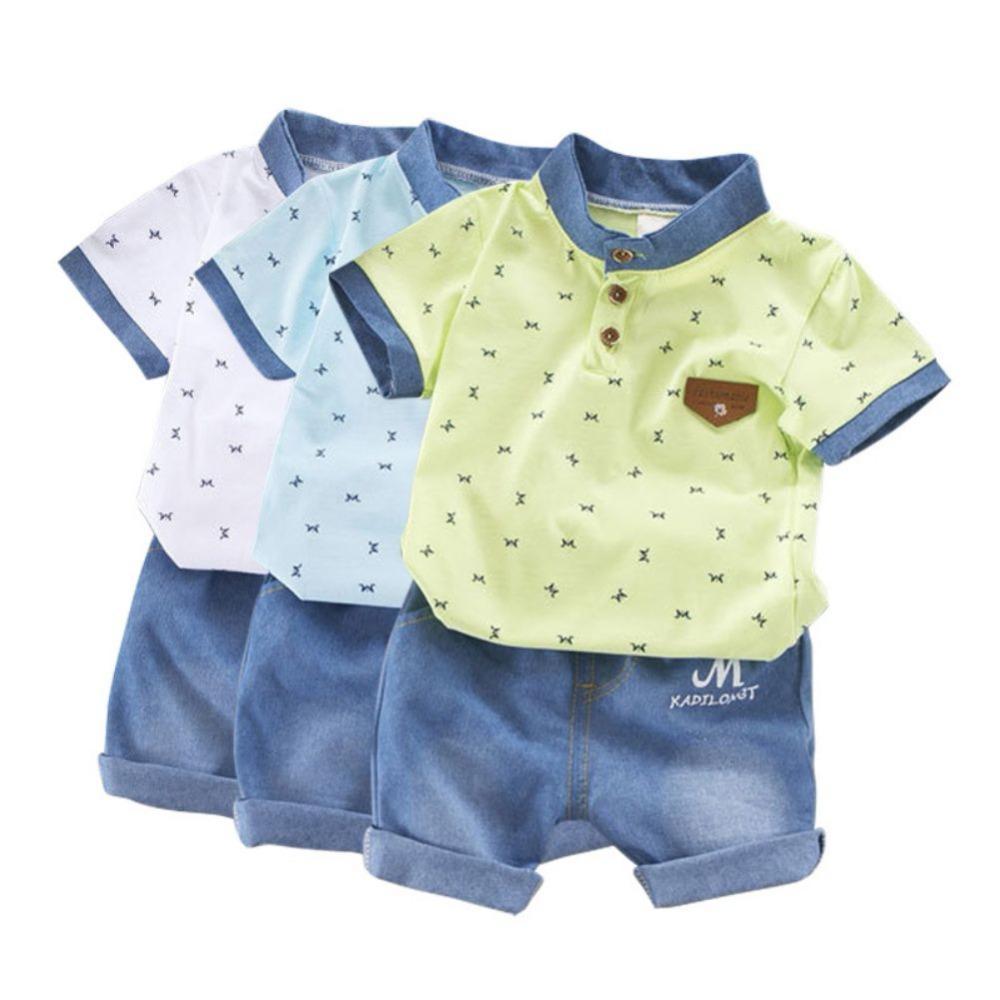 910a33fcea38c Acquista Neonati Vestiti Estivi Neonati Set Di Abbigliamento Bambini  Camicie A Maniche Corte + Jeans Pantaloncini Di Jeans Eleganti Completi 2  Pezzi A ...