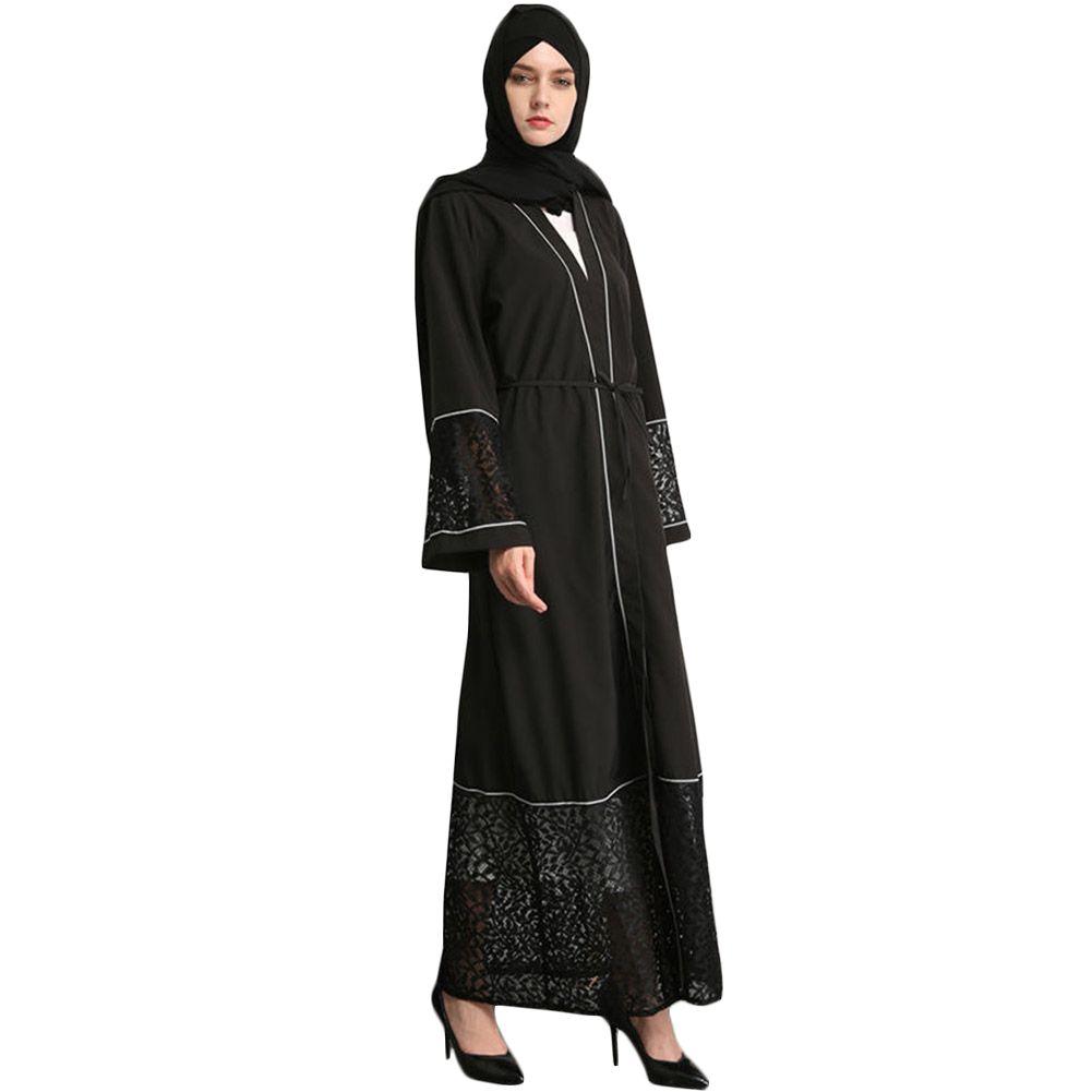02709df1f3f 2019 Muslim Women Long Sleeve Dubai Dress Maxi Abaya Islamic Women Vintage Dress  Clothing Lace Robe Kaftan From Cravat