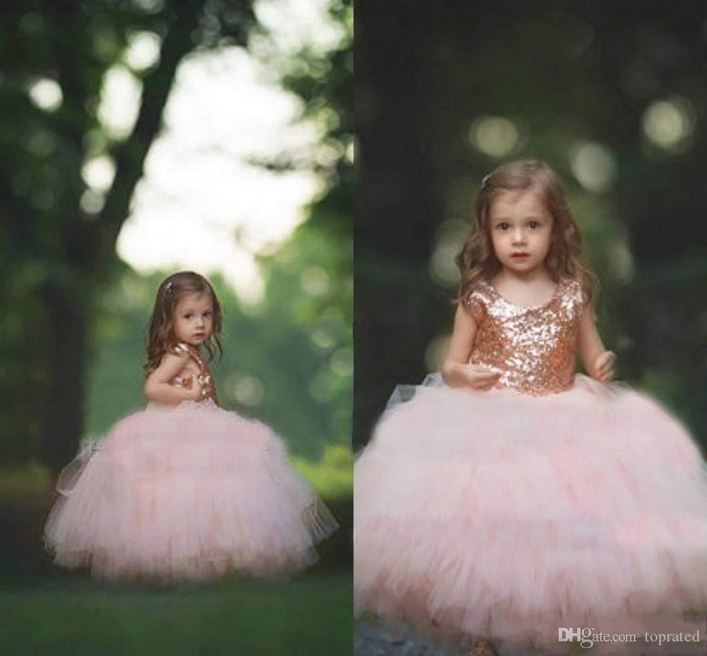 Rose Gold Sequin Flower Girls Dresses 2020 New Puffy Ball Gown Floor Length First Communion Dresses Girls Pageant Gown Custom Made Cheap