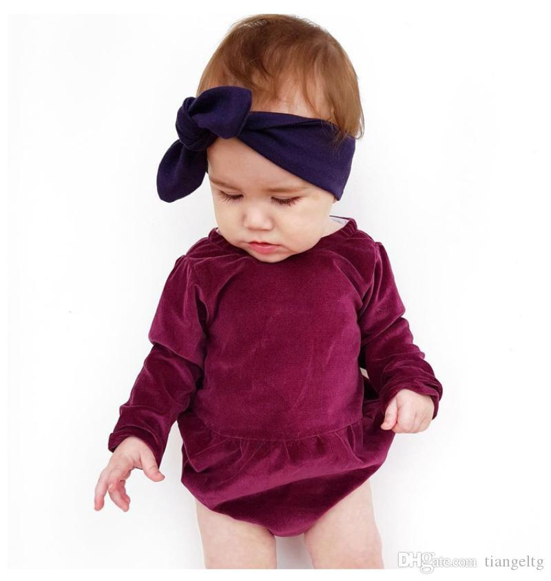 3ed02f9f2229 2019 Baby Girls Pleuche Rompers Burgundy Long Sleeve Flod Newborn ...