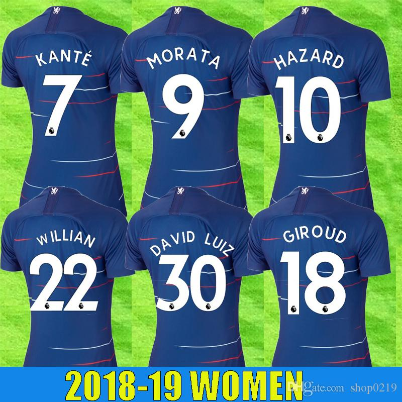 2018 Top Thailand 18 19 Women Hazard Morata Soccer Jersey Giroud Kante  Camiseta Jorginho Luiz Football Shirt Bakayoko Kovacic Willian Maillot From  Shop0219 a2cf028c6