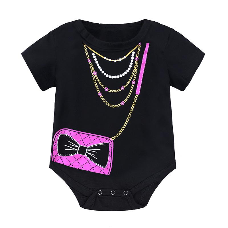 1858c5b22eb3 Baby Romper Summer Infant Black Bag Print Jumpsuit for Girls ...