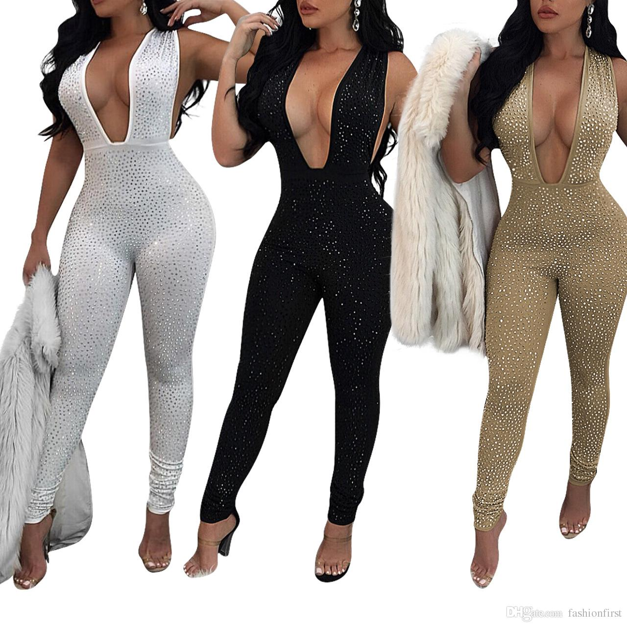 335c75490538 2019 Fashion 90s Front Rhinestone Stud Jumpsuit Sexy Deep V Neck ...