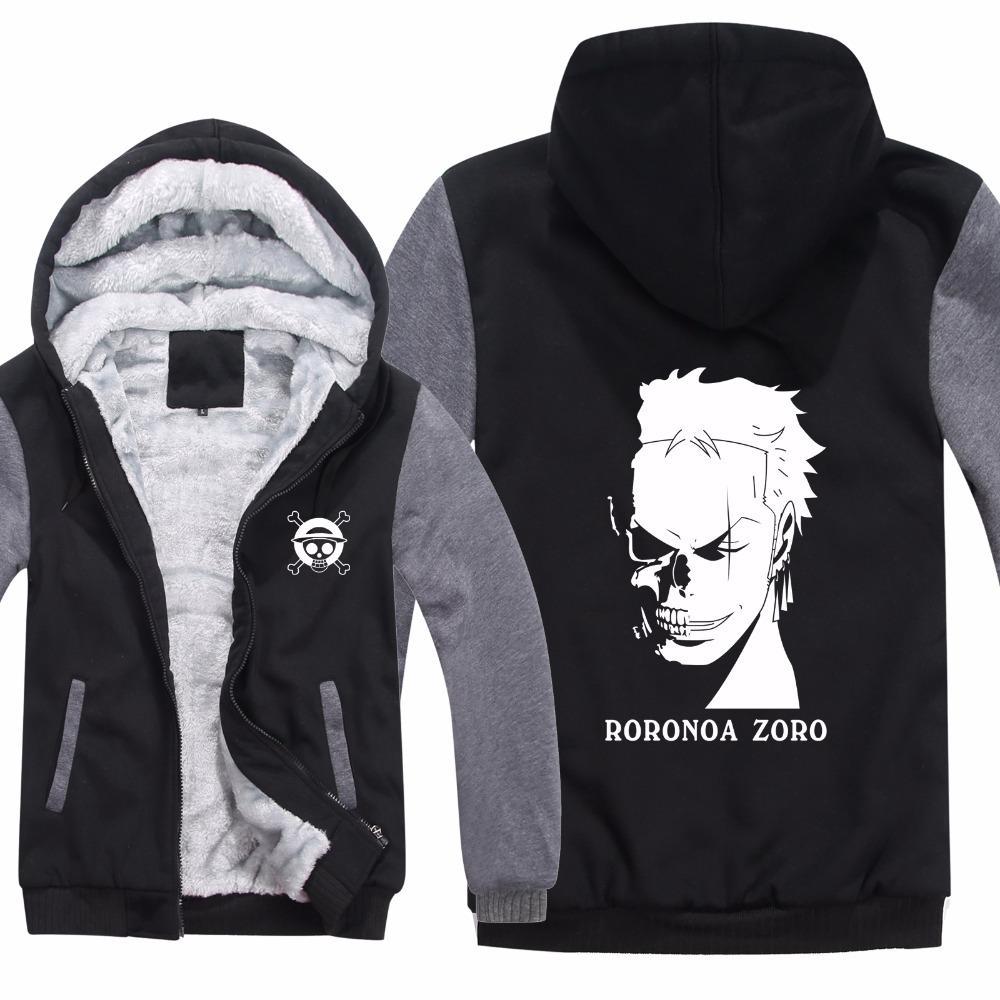 2018 new winter anime one piece hoodies jacket men casual thick fleece roronoa zoro sweatshirts pullover man coat from yujiu 56 37 dhgate com