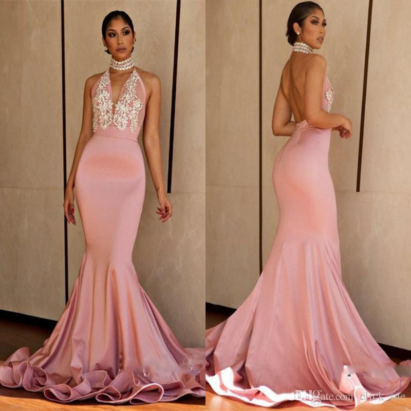 Pink Halter Sexy Prom Dresses 2018 Deep V Neck Beads Satin Backless ...