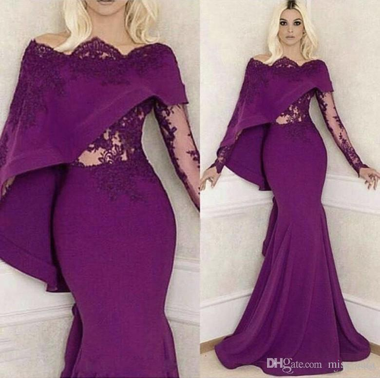 2018 Purple Mermaid Evening Dresses Long Sleeves Bateau Lace Applique Prom Dress Custom Made From China Party Gowns