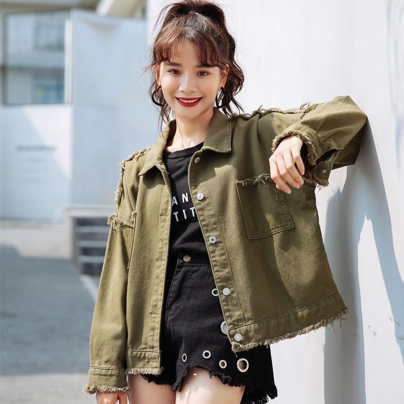 b827c7431c0 2018 Autumn Women Basic Coat Denim Jacket Women Winter Army Green Denim  Jacket For Jeans Coat Loose Casual Biker Jacket Brown Leather Jacket From  Xiatian8