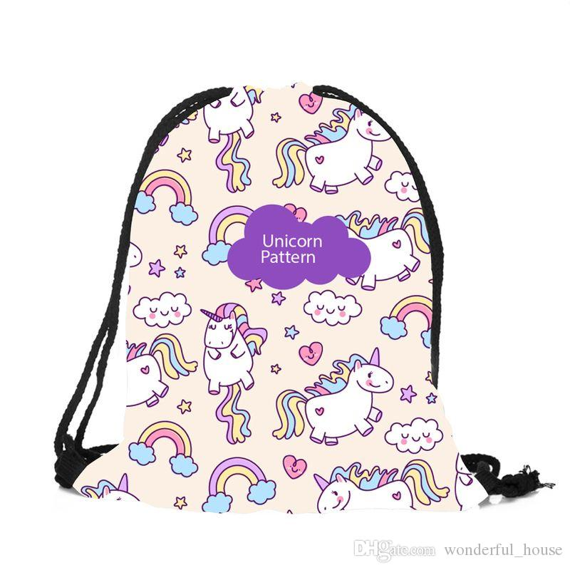 1239dc825d85 2019 Unicorn Drawstring Bag 3 Designs Waterproof Nylon Bags Eco Shopping Bag  Cartoon Backpack Kids School Shoulder Bag Storage Bags SF Packet From ...
