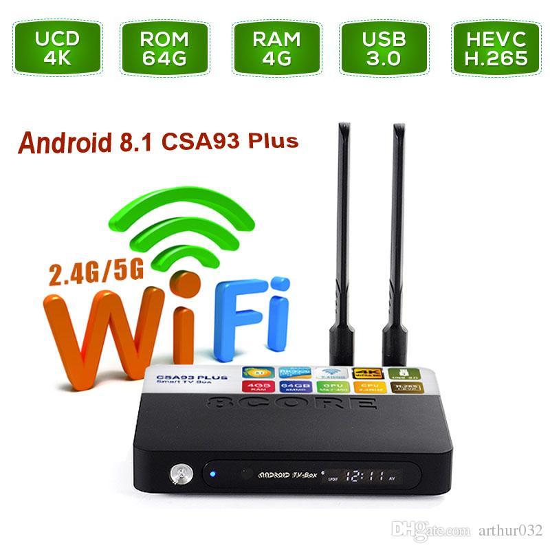 tv box android 8.1 4gb 64 gb  4GB 64GB CSA93 Plus Android 8.1 Smart TV Box RK3328 Quad Core Dual ...