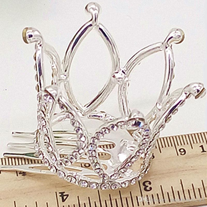 New Hot Mini Girls Rhinestone Crown Bridal Tiara Capelli pettine Pin la festa nuziale spedizione gratuita