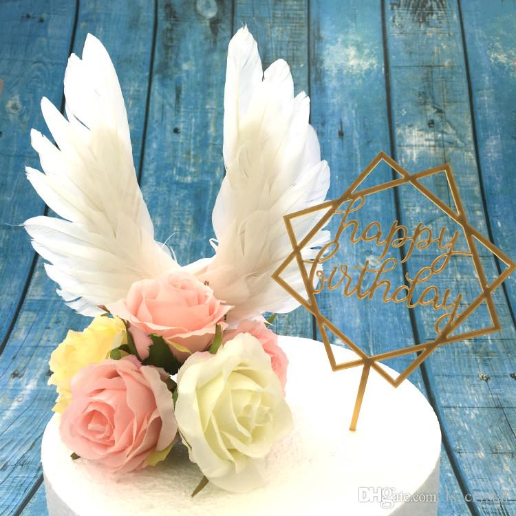 Elegant White Angel Feather Wing Cake Topper