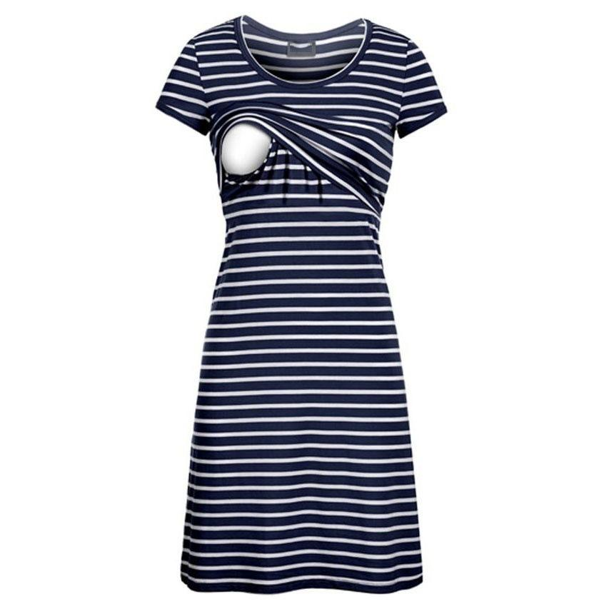 4505cff5e3f 2019 Envsoll Nursing Clothes Round Neck Stripe Breastfeeding Dress Short  Sleeve Feeding Clothing Maternity Clothes For Pregnant Women From Orchidor
