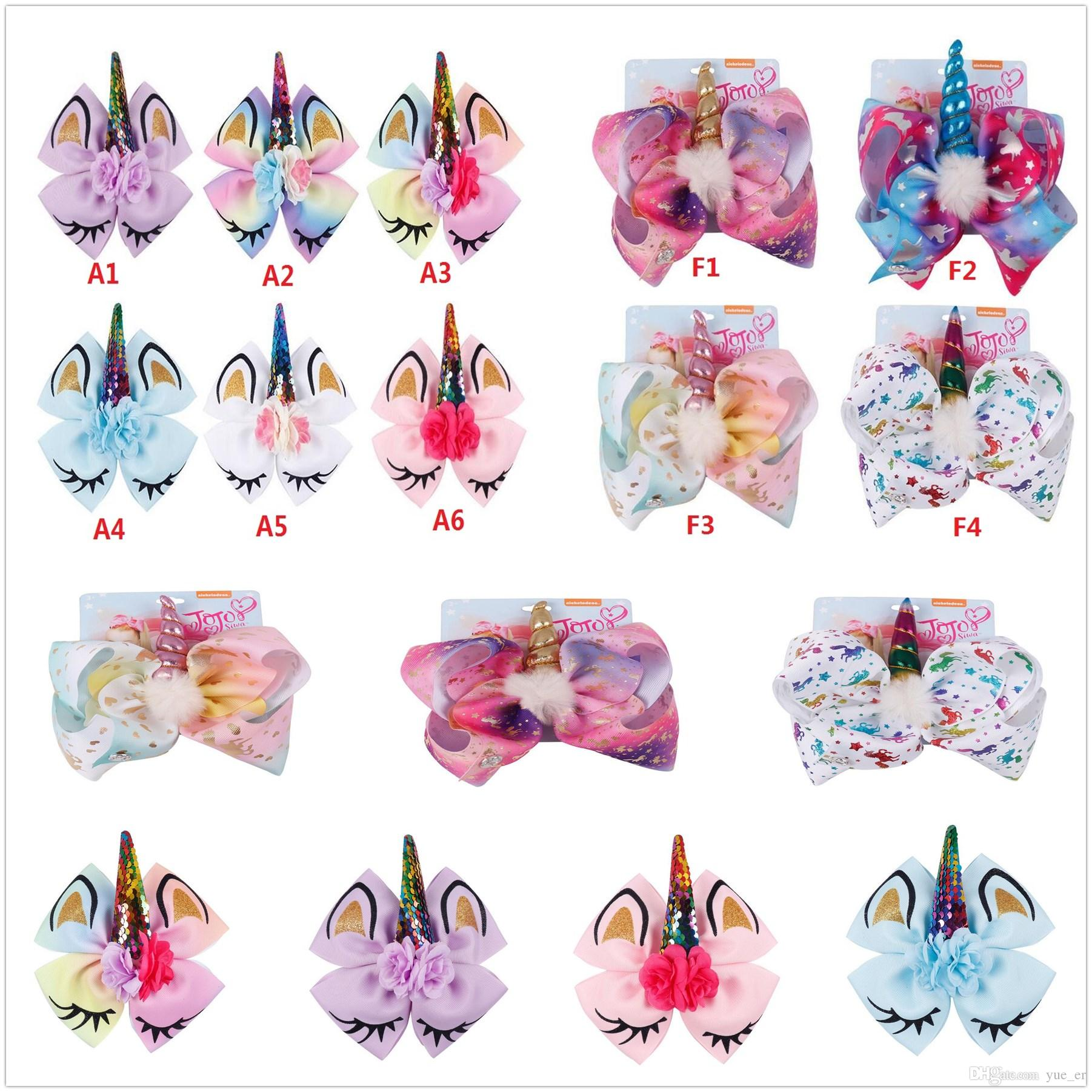 8 inch JOJO bow bowknot Unicorn baby girls Sequin hair bows Ox horn barrettes Rainbow Clippers Hair Clips JOJO Hair Accessory Fashion