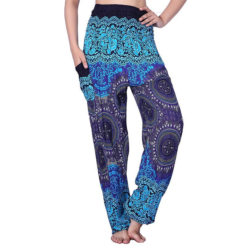 d52a0dc29d Pantaloni a vita alta Pantaloni estivi Bohemian allentati Stampa Bloomers  Pantaloni Donna Taglie forti Abbigliamento 10 colori