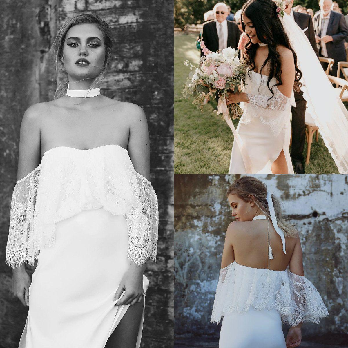 Simple Cheap Wedding Dresses 2018 Sexy High Side Split Floor Length