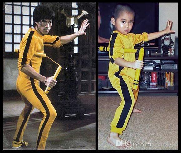 Bruce Lee Jumpsuit Jeet Kune Do Game of Death Costume Tuta Bruce Lee Classic Yellow Kung Fu Uniformi Cosplay JKD Nunchaku Set