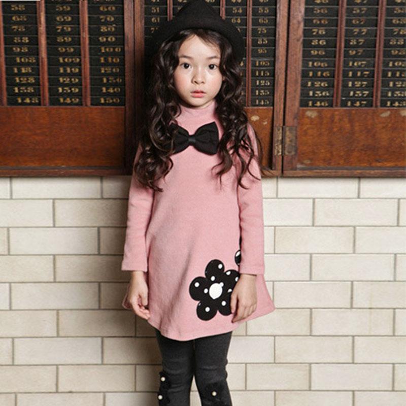 2018 Kış Kız Elbise Sıcak Pamuk Çocuklar Sevimli Stil Pembe Gül Kırmızı Çocuk Küçük Kızlar Bahar Yay Büyük Sarkaç Çiçek giyim