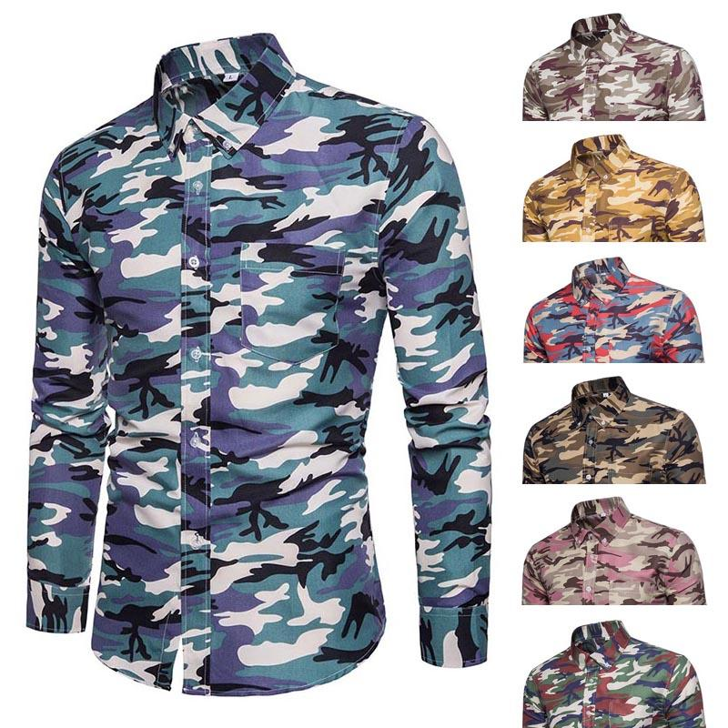 44512c78505 New Fashion Men s Shirt Lapel Long Sleeve Camouflage Printing Casual Front  Button For Business Party WML99 Casual Shirts Cheap Casual Shirts New  Fashion ...