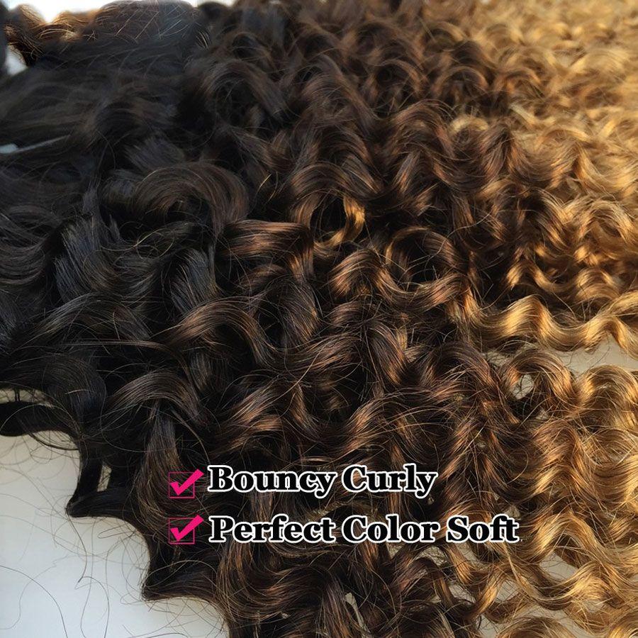 3 STÜCKE Ombre Brasilianische Verworrene Lockige Weben Menschenhaar Bundles T1b / 4/27 Nicht Remy 3 Ton Ombre Menschliches Haar Extensions Zweifel einschlagfaden