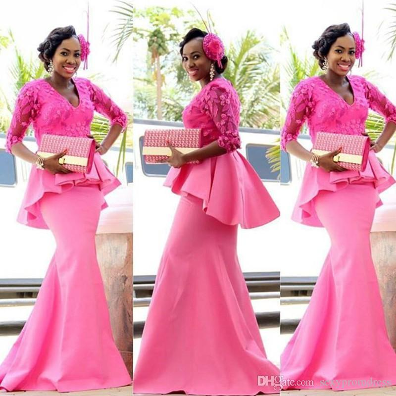 d125e5cba5 Hot Pink Aso Ebi Mermaid Prom Dresses 2018 V Neck Sheer Lace Half Long  Sleeves Evening Gowns Peplum Women Party Formal Dress
