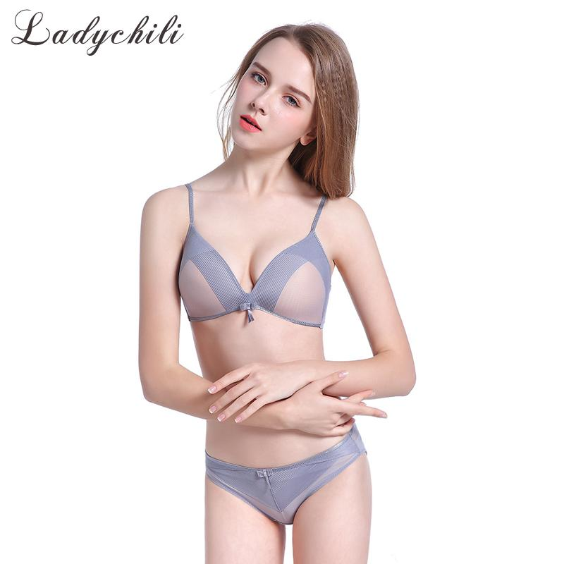dd8eedb8ae 2019 Ladychili Wome Intimate New Style Sexy Padded Super Push Up Bra And  See Through Panties Wireless Mesh Bra And Underwear Set N373 From Yukime