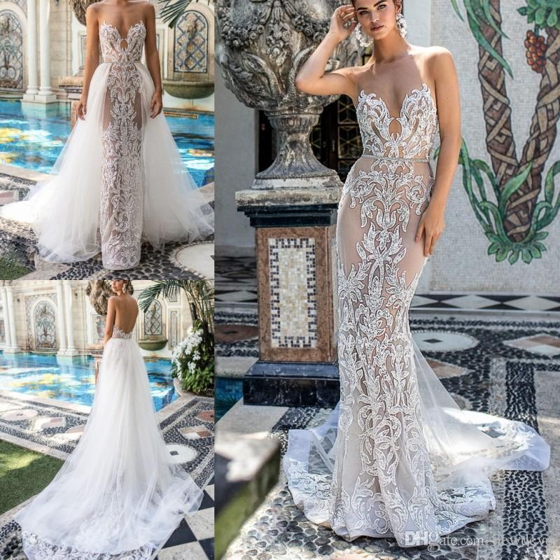 4a117adbe71 Berta 2019 Spring Mermaid Wedding Dresses Detachable Sweetheart Neck  Sleeveless Sexy With Sash Bridal Gowns Lace Appliques Wedding Dress