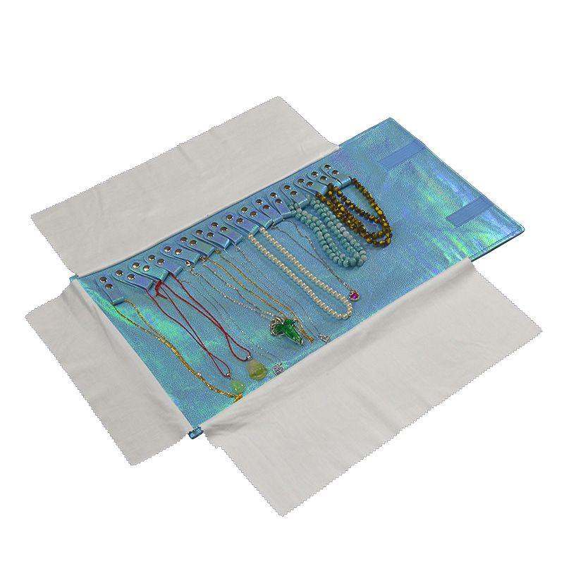 Boîte à bijoux en tissu de mode En Gros bleu ciel Couleur Glitter Bijoux Affichage Sac De Stockage Stud Collier Pendentif Rouleau Sac