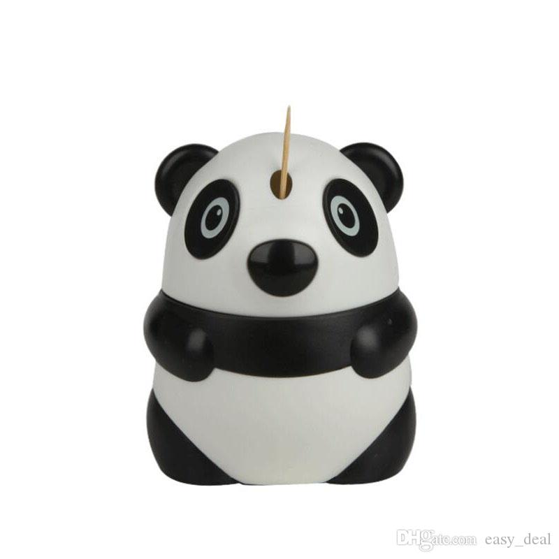 Automatic Toothpick Holder Cartoon Panda Design Cute Toothpick Dispenser Restaurant Table Decoration Wholesale Free Shipping ZA6258