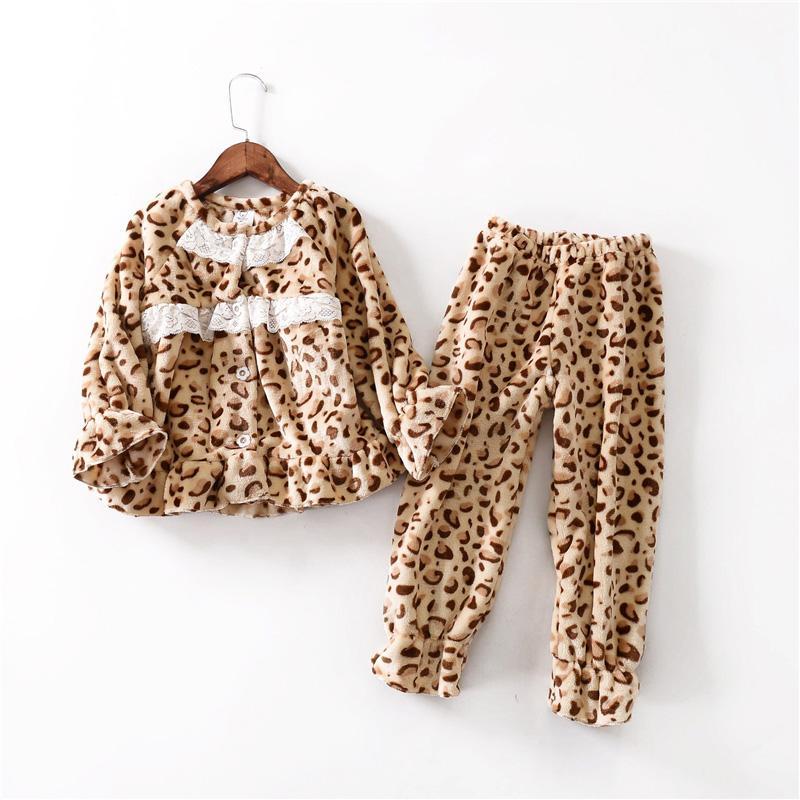 cf9dd05178c5 Fashion Flannel Kids Girls Pajama Set Leopard Children Pijamas ...