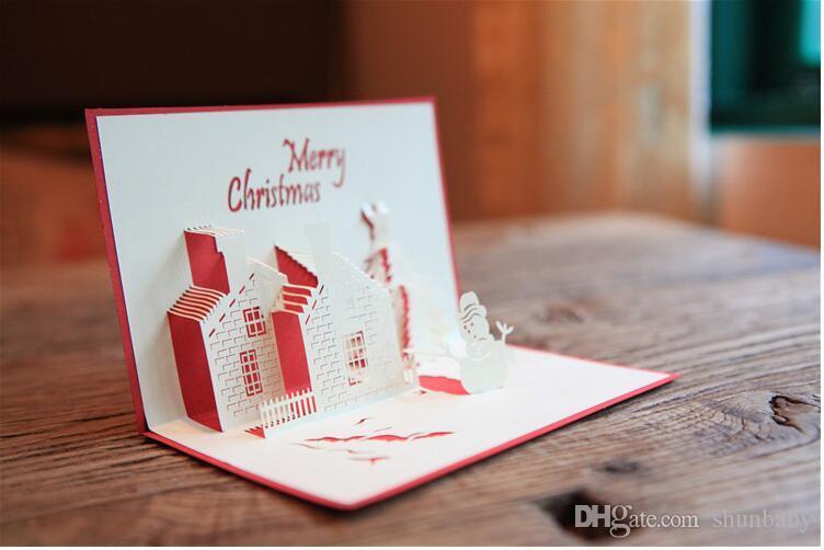 Tarjetas de felicitación hechas a mano del día de fiesta 3D de la Navidad Tarjetas de regalo de acción de gracias del castillo de la cabaña de Navidad con ...
