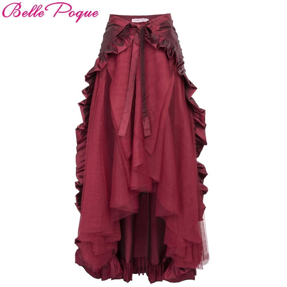 d675d51b98f9 2019 Womens Steampunk Costume Clothing Ruffle Burlesque Skirt Retro Vintage  High Waist Long Maxi Skirts 2018 Summer Punk Gothic Skirt S916 From  Ruiqi02